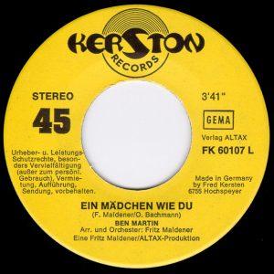 """Ben Martin - Singleaufdruck """"Ein Mädchen wie du"""""""